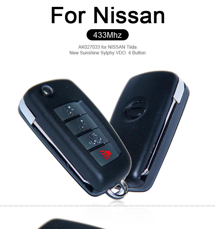 AK027033  FOR NISSAN Tiida New Sunshine Sylphy VDO  4 Button  433MHZ