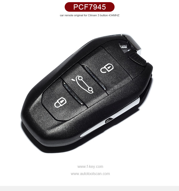 AK016011 Original 3 Buttons Smart Remote Key For Citroen C4L With ID46 Chip 434Mhz Car Alarm Keyless Entry Fob
