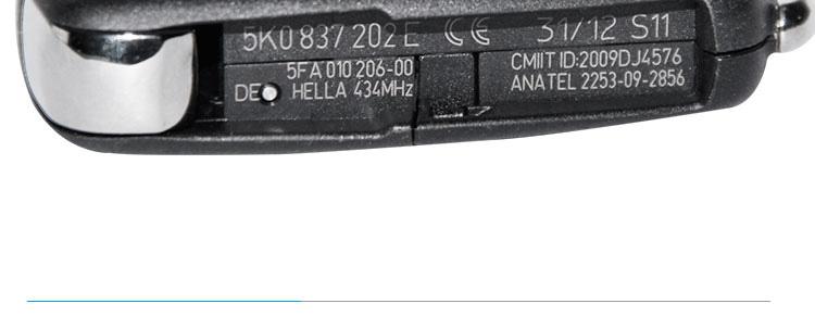 AK001035 New VW Remote Flip Key 3 Button 5K0 837 202 E 434MHz ID48