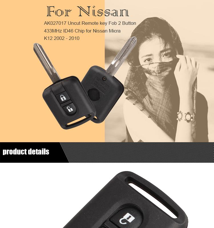 AK027017 Uncut Remote key Fob 2 Button 433MHz ID46 Chip for Nissan Micra K12 2002 - 2010