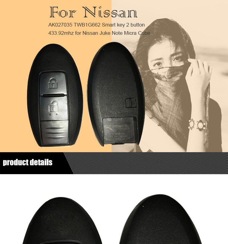 AK027035 TWB1G662 Smart key 2 button 433.9mhz for Nissan Juke Note Micra Cube