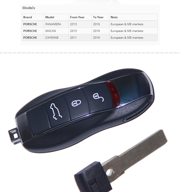 AK005002 for Porsche Cayenne Remote Key 3 Button  434 Mhz 7PP 959 753 BN no keyless go