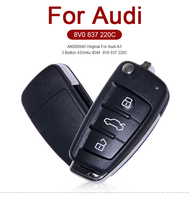 AK008040 Original For Audi A3 3 Button 433mhz ID48  8V0 837 220C