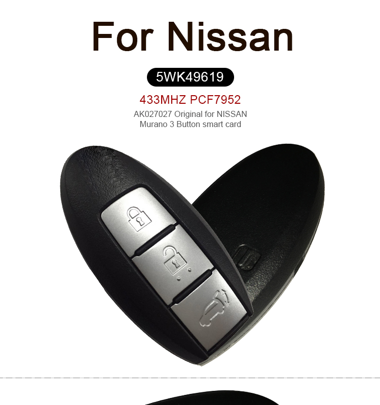 AK027027 Original FOR NISSAN Murano 3 Button smart card 433MHZ PCF7952